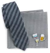 Original Penguin Five-Piece Lapel Pins, Checkered Cotton Pocket Square and Striped Cotton Tie Set