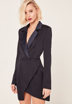 Missguided Navy Long Sleeve Plunge Blazer Dress