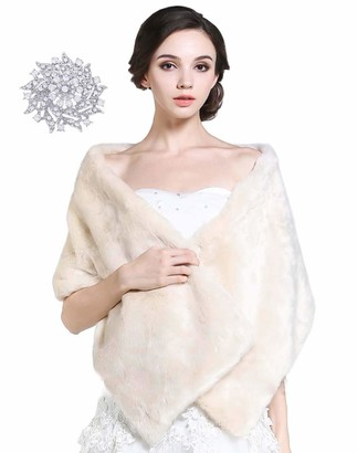 Aukmla Women's Wedding Fur Shawls and Wraps Bridal Fur Stole and Scarves (Ivory)