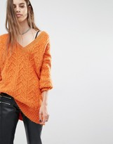 Religion Luxury Oversized V-Neck Sweater In Fluffy Knit
