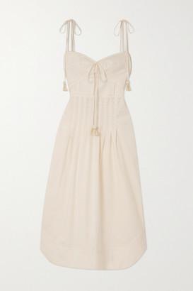 Johanna Ortiz Aromatic Essence Tasseled Cotton-blend Poplin Midi Dress - Ecru