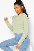 boohoo Knitted Hooded Cropped Jumper