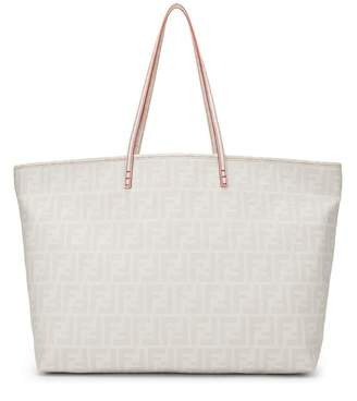 Fendi White Zucca Coated Canvas Roll Tote Large