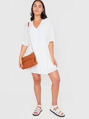 In The Style XJac Jossa V Neck Trapeze Dress - White