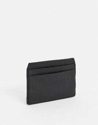 ASOS DESIGN leather card holder in black saffiano