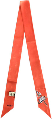Fendi Orange Silk Scarves