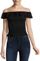 Arizona Short Sleeve Off Shoulder Sleeve Crop Top-Juniors