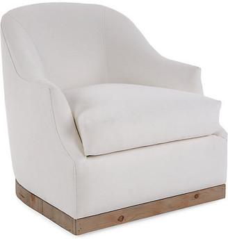 One Kings Lane Bridget Swivel Club Chair - Ivory Linen