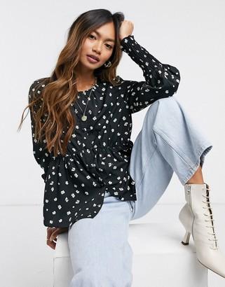 Vero Moda co-ord blouse in black ditsy floral