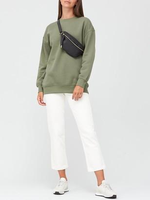 Very The Essential Longline Crew Neck Sweatshirt - Khaki