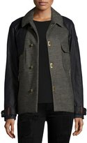 Sorel Short Two-Tone Wool Trench Coat, Olive Green/Heather Black