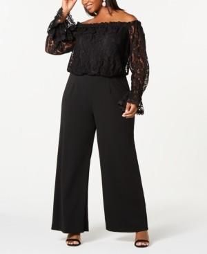 Adrianna Papell Size Off-The-Shoulder Lace Jumpsuit