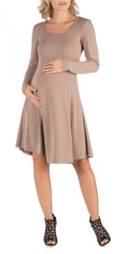 24Seven Comfort Apparel Simple Long Sleeve Knee Length Flared Maternity Dress