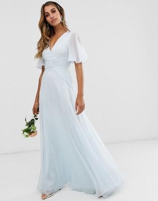 Asos Design DESIGN Bridesmaid flutter sleeve maxi dress with pleated waist-Blue