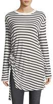 Alexander Wang Crewneck Striped Slub Jersey Tee with Ruched Detail