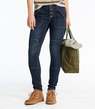 L.L. Bean Women's Signature Premium Skinny Jeans, Button-Front Ankle