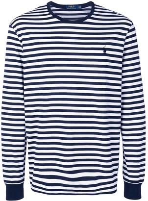 Polo Ralph Lauren logo striped long-sleeve top