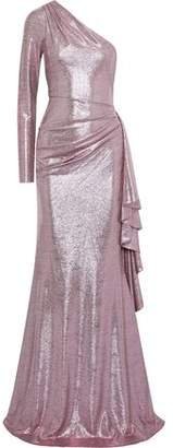 Zac Posen Ray One-shoulder Draped Lame Gown