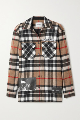 we11done Printed Checked Wool-twill Shirt - Camel