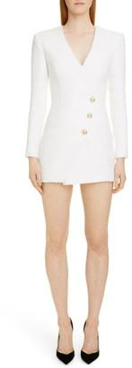 Balmain Long Sleeve Tweed Minidress