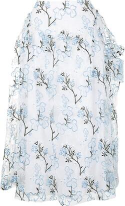 Simone Rocha Embroidered Floral Skirt