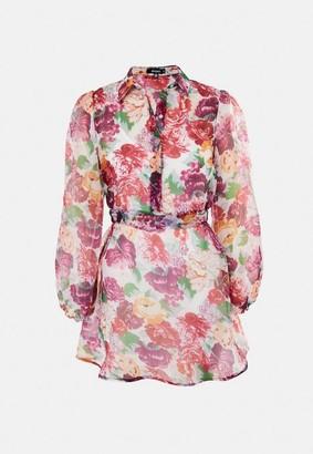 Missguided Pink Floral Organza Long Sleeve Skater Shirt Dress