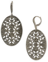 Sterling Silver & Marcasite Oval Cutout Earrings