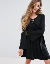 Glamorous Lace Up Front Swing Dress