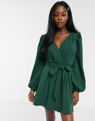 Skylar Rose wrap front dress with tie waist and balloon sleeves