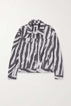 Ksubi Static Oversized Zebra-print Denim Jacket - Black