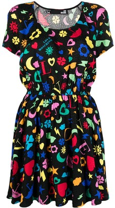 Love Moschino Abstract-Print Jersey Dress