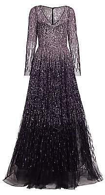 Pamella Roland Women's Ombre Sequin Silk Tulle Gown