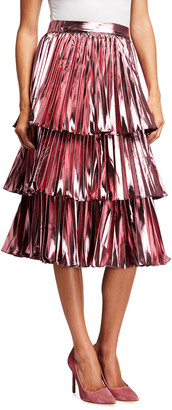 Tanya Taylor Ariana Tiered Metallic Midi Skirt