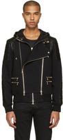 Balmain Black French Terry & Leather Jacket