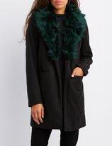 Charlotte Russe Faux Fur-Trim Longline Coat