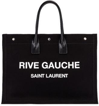 Saint Laurent Noe Tote in Black & White   FWRD