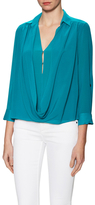 Alice + Olivia Lalita Silk Draped Wrap Collared Blouse