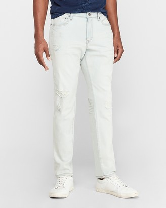 Express Slim Light Wash Ripped Hyper Stretch Jeans