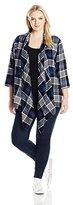 Derek Heart Junior's Plus Size Yummy Flannel Plaid Brushed Cardigan Sweater