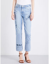 Paige Sarah logo-embroidered straight high-rise jeans
