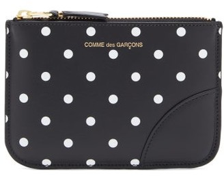 Comme des Garcons Polka Dot-print Mini Leather Coin Purse - Black Multi