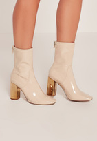 Missguided Nude Patent Metallic Heel Ankle Boots