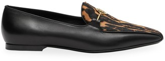 Burberry Almerton Leopard-Print Calf Hair & Leather Loafers