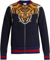 Gucci Tiger-knit zip-through wool bomber jacket
