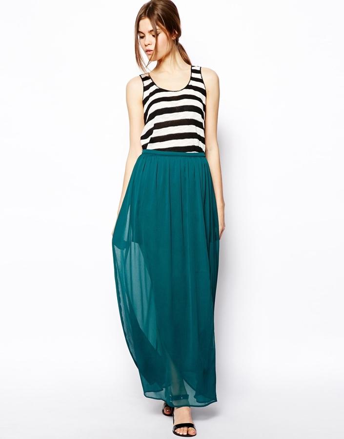 Asos Wrap Maxi Skirt In Chiffon