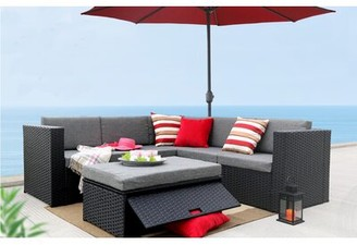 Bronx Hansley 4 Piece Rattan Sectional Seating Group with Cushions Ivy Frame Color: Black