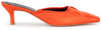 SALONDEJU Volure 50 Orange Lizard-effect Mules
