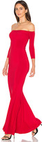 Norma Kamali Off The Shoulder Fishtail Gown in Red