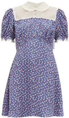 Miu Miu Floral-print Silk-charmeuse Mini Dress - Womens - Blue Multi