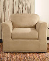 Sure Fit Stretch Faux Leather Separate Seat T-Cushion Chair Slipcover Bedding